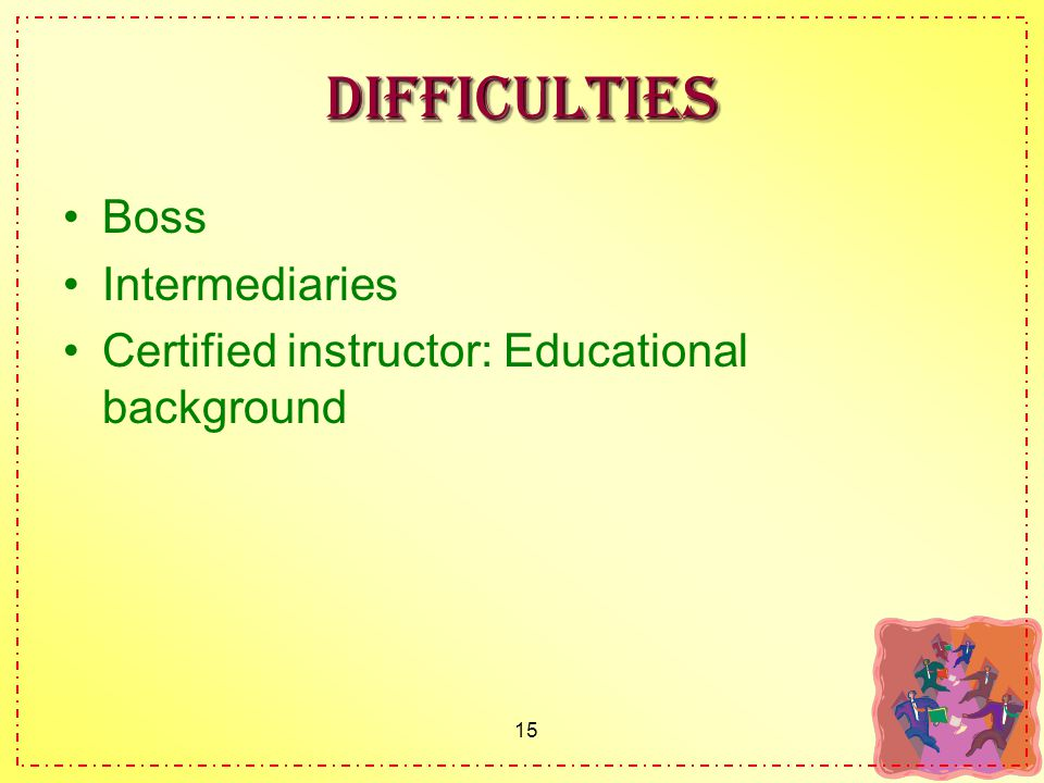 15 Difficulties Boss Intermediaries Certified instructor: Educational background