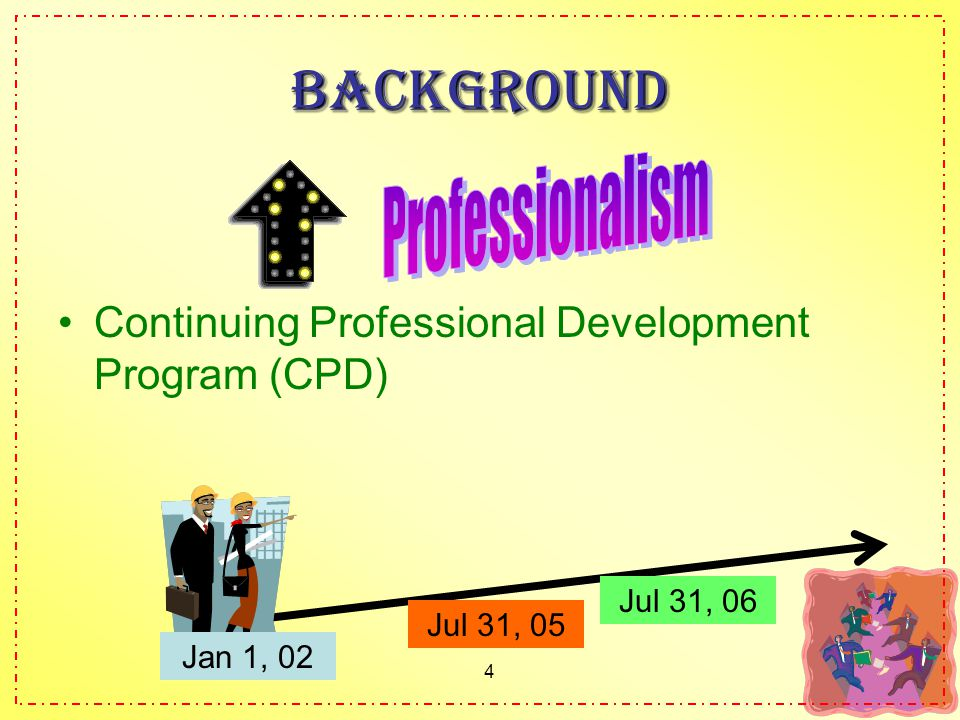 4 Background Continuing Professional Development Program (CPD) Jan 1, 02 Jul 31, 05 Jul 31, 06