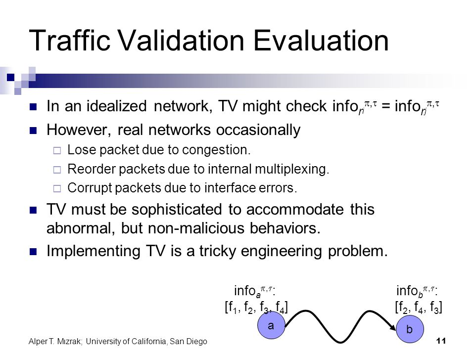Alper T. Mızrak; University of California, San Diego11 Traffic Validation Evaluation In an idealized network, TV might check info r i ,  = info r j