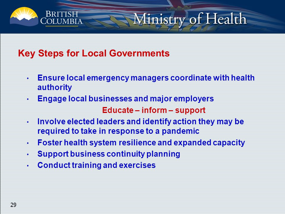 29 Key Steps for Local Governments Ensure local emergency managers coordinate with health authority Engage local businesses and major employers Educate – inform – support Involve elected leaders and identify action they may be required to take in response to a pandemic Foster health system resilience and expanded capacity Support business continuity planning Conduct training and exercises