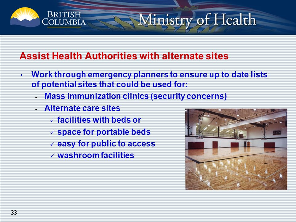 33 Assist Health Authorities with alternate sites Work through emergency planners to ensure up to date lists of potential sites that could be used for: - Mass immunization clinics (security concerns) - Alternate care sites facilities with beds or space for portable beds easy for public to access washroom facilities