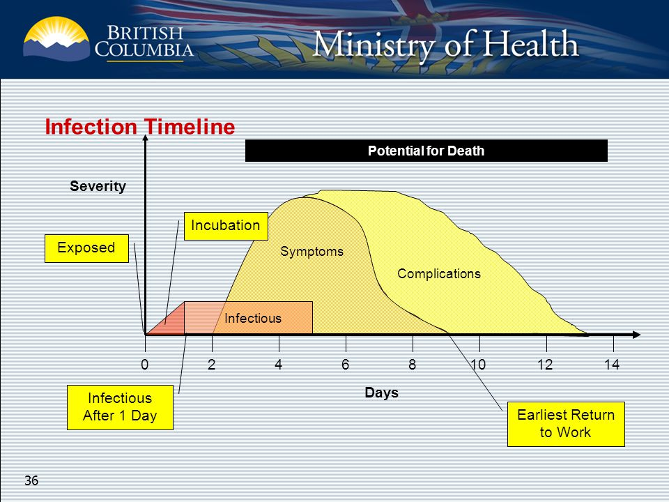 36 Potential for Death Severity 02468101214 Exposed Infectious After 1 Day Symptoms Complications Earliest Return to Work Infectious Days Incubation Infection Timeline