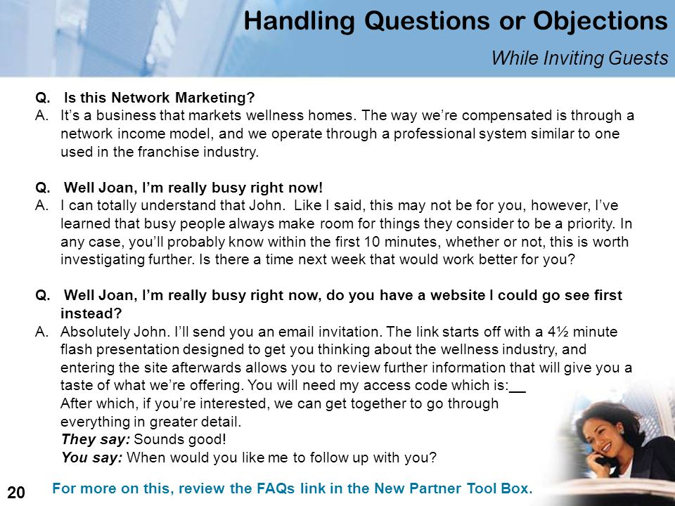 Handling Questions or Objections While Inviting Guests Q.