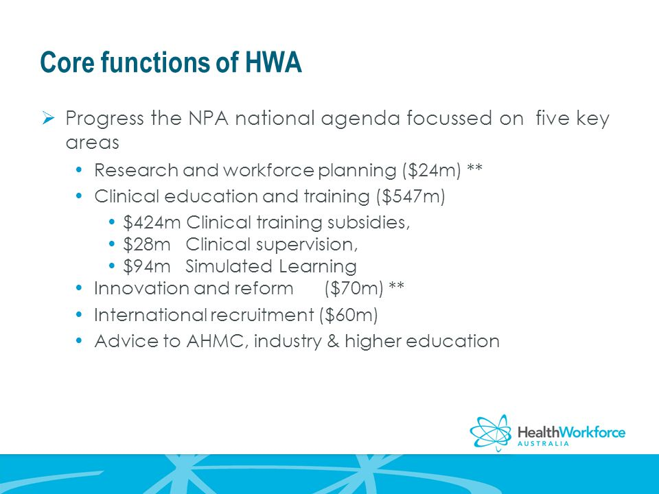 Core functions of HWA  Progress the NPA national agenda focussed on five key areas Research and workforce planning ($24m) ** Clinical education and training ($547m) $424m Clinical training subsidies, $28m Clinical supervision, $94m Simulated Learning Innovation and reform ($70m) ** International recruitment ($60m) Advice to AHMC, industry & higher education