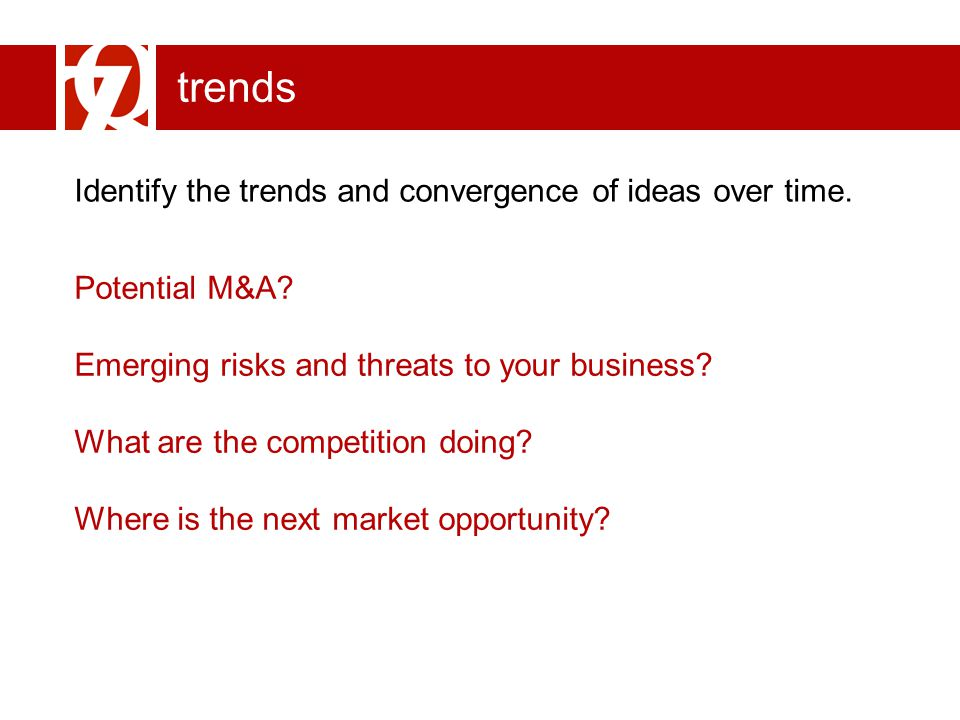trends Identify the trends and convergence of ideas over time. Potential M&A? Emerging risks and threats to your business? What are the competition do