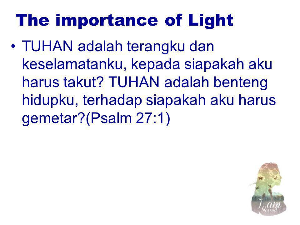 The importance of Light TUHAN adalah terangku dan keselamatanku, kepada siapakah aku harus takut? TUHAN adalah benteng hidupku, terhadap siapakah aku