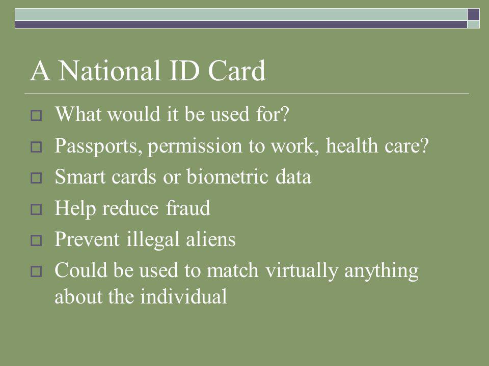 A National ID Card  What would it be used for.  Passports, permission to work, health care.