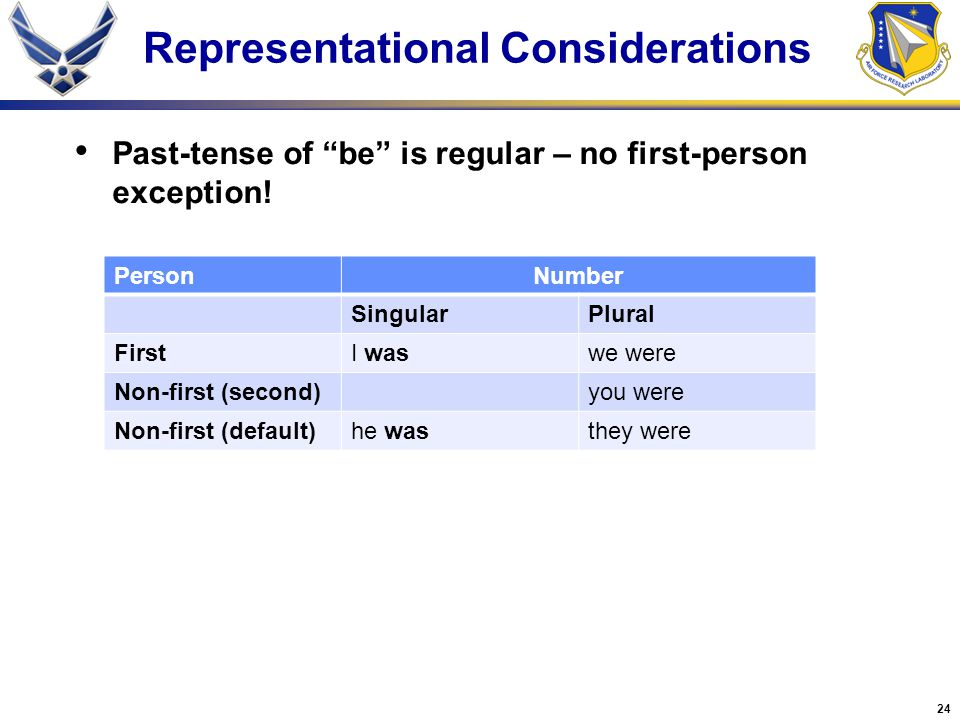 24 Representational Considerations Past-tense of be is regular – no first-person exception.