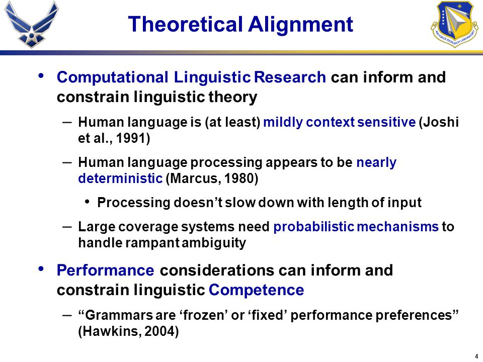 5 Theoretical Alignment Psycholinguistic Research can inform and constrain linguistic theory – Human language processing is incremental (word by word) (Bever, 1970; Tanenhaus et al., 1995) Garden path sentences – The horse raced past the barn fell Visual World Paradigm – Human language processing is interactive (Tanenhaus et al.