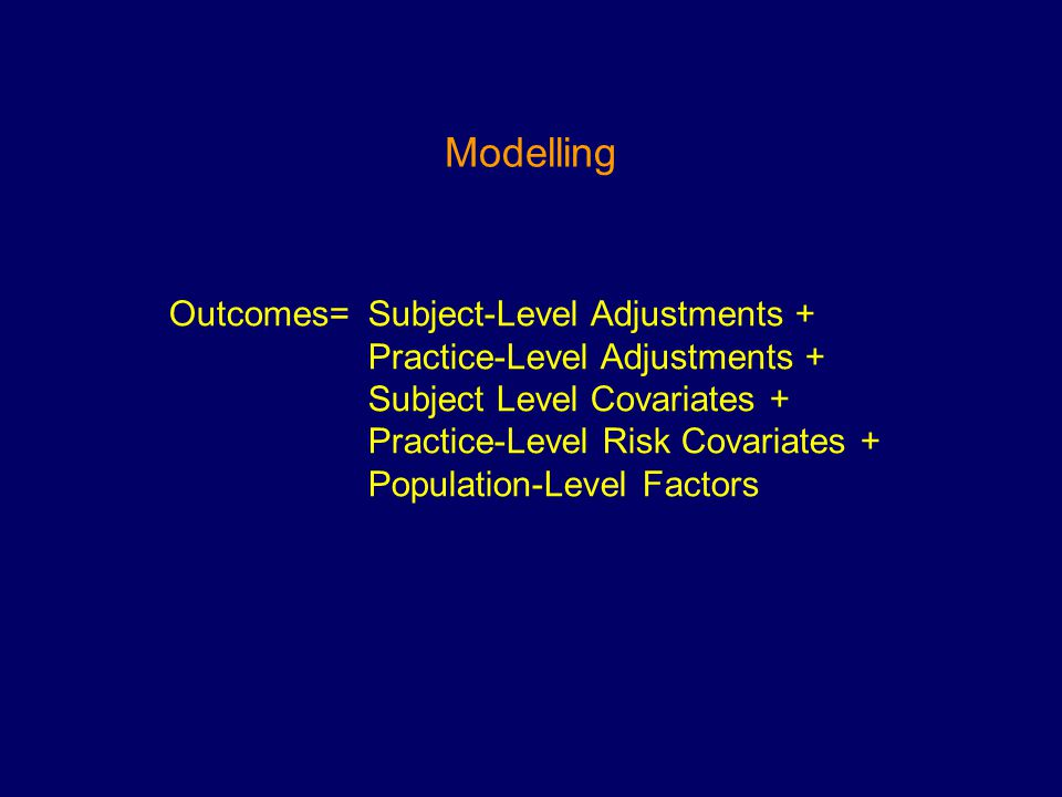 Outcomes= Subject-Level Adjustments + Practice-Level Adjustments + Subject Level Covariates + Practice-Level Risk Covariates + Population-Level Factors Modelling