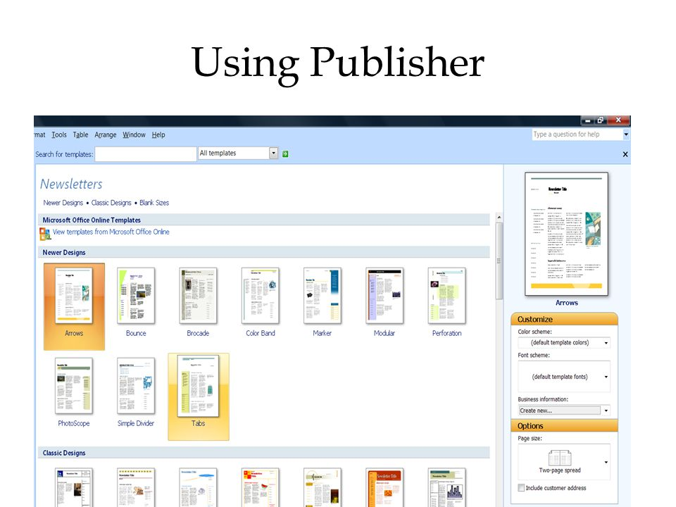 Using Publisher