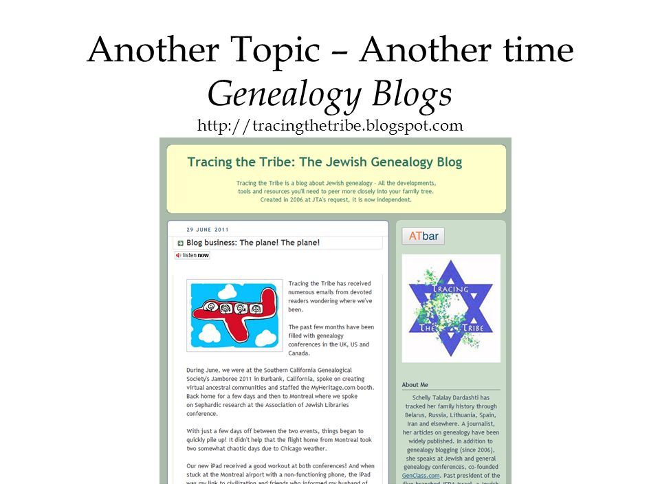Another Topic – Another time Genealogy Blogs http://tracingthetribe.blogspot.com