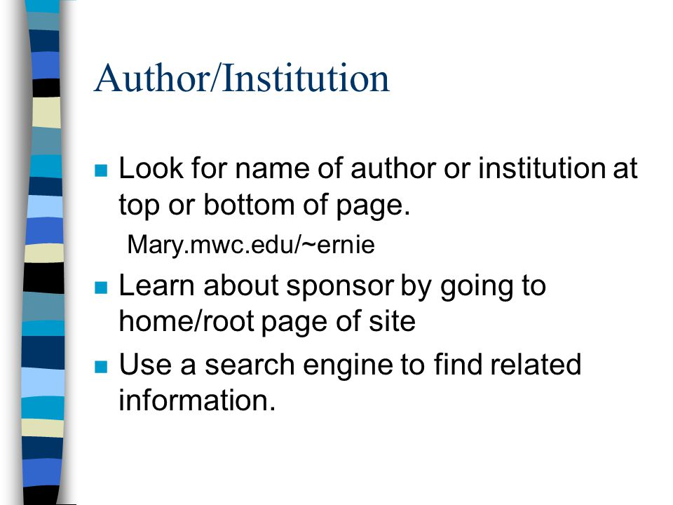Author/Institution n Look for name of author or institution at top or bottom of page.