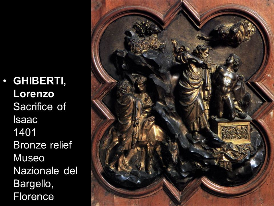 GHIBERTI, Lorenzo Sacrifice of Isaac 1401 Bronze relief Museo Nazionale del Bargello, Florence
