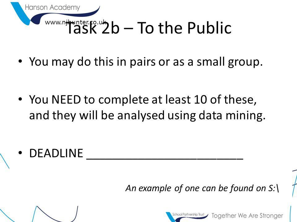 www.njhunter.co.uk Task 2b – To the Public You may do this in pairs or as a small group.