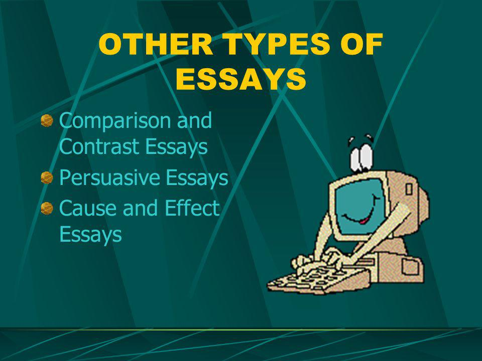 OTHER TYPES OF ESSAYS Comparison and Contrast Essays Persuasive Essays Cause and Effect Essays