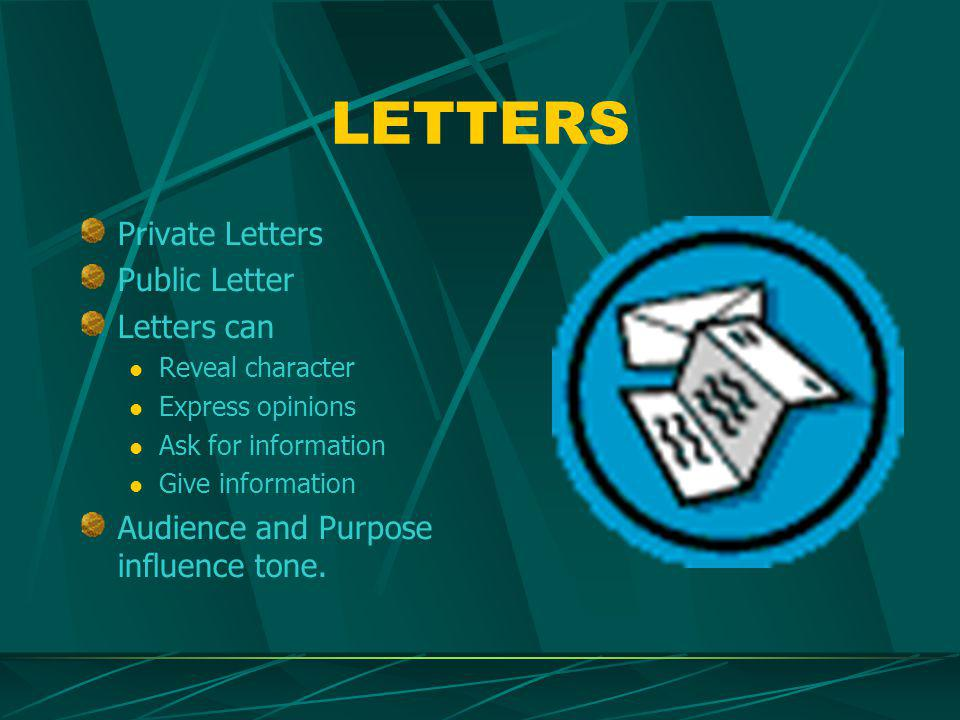 LETTERS Private Letters Public Letter Letters can Reveal character Express opinions Ask for information Give information Audience and Purpose influence tone.