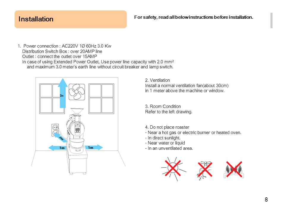 8 Installation For safety, read all below instructions before installation. 1. Power connection : AC220V 1Ø 60Hz 3.0 Kw Distribution Switch Box : over