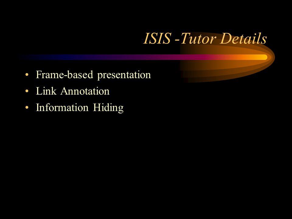 ISIS -Tutor Details Frame-based presentation Link Annotation Information Hiding