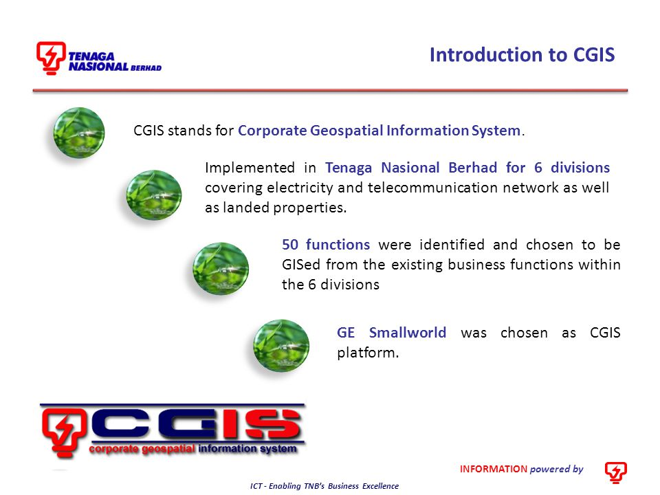 INFORMATION powered by ICT - Enabling TNB's Business Excellence Where are CGIS now Project Kick-off 2010201120122013 Asset Register 2009 Asset Planning & Construction Asset Management Customer Management Operation & Maintenance Year 3