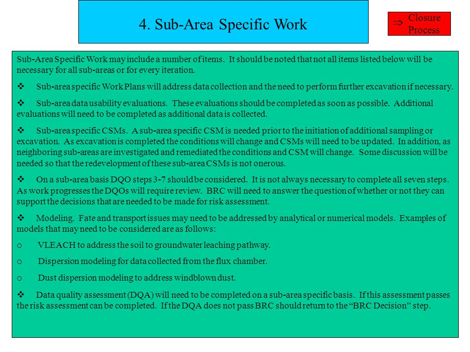4. Sub-Area Specific Work Sub-Area Specific Work may include a number of items.