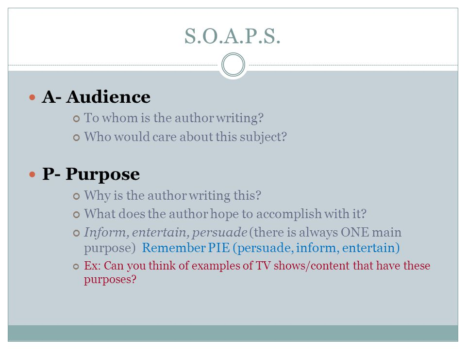 S.O.A.P.S. A- Audience To whom is the author writing.