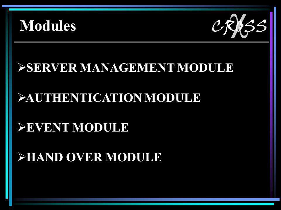Modules  SERVER MANAGEMENT MODULE  AUTHENTICATION MODULE  EVENT MODULE  HAND OVER MODULE Modules