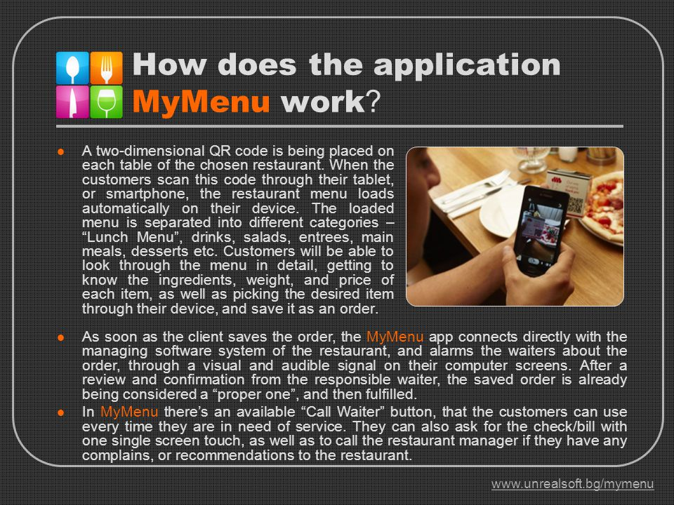 How does the application MyMenu work .