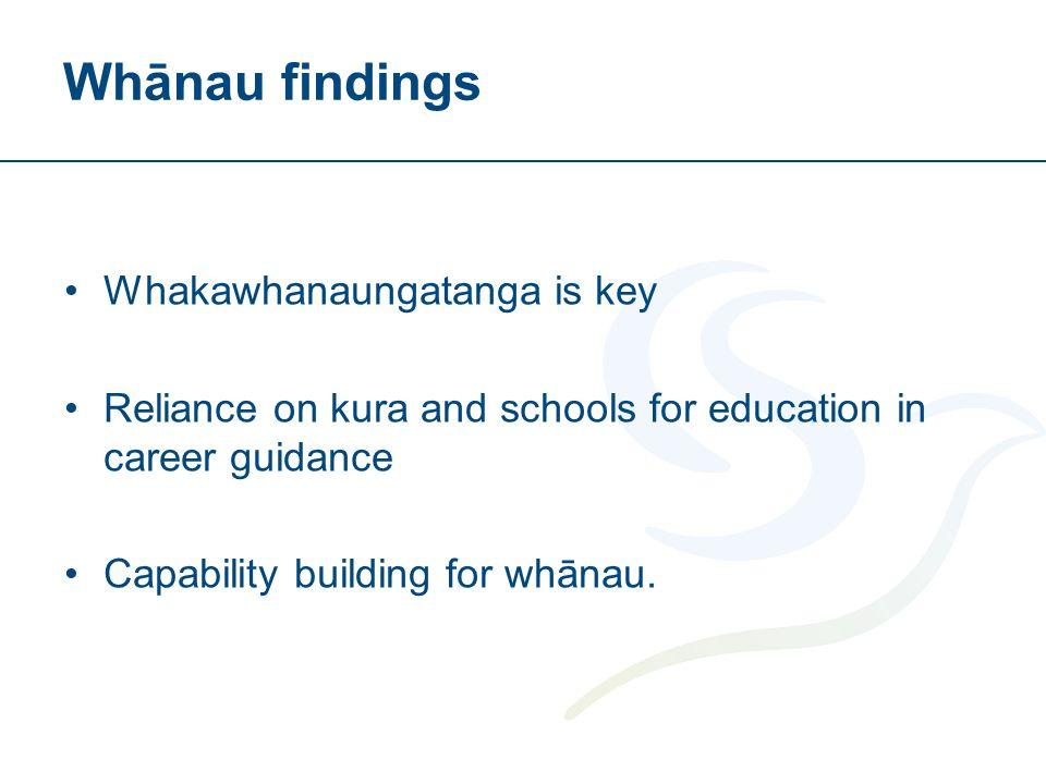 Whānau findings Whakawhanaungatanga is key Reliance on kura and schools for education in career guidance Capability building for whānau.