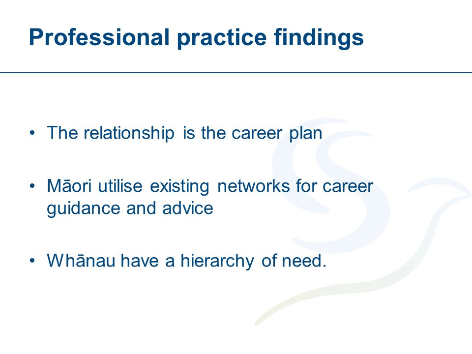 Professional practice findings The relationship is the career plan Māori utilise existing networks for career guidance and advice Whānau have a hierar