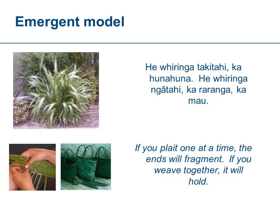 Emergent model He whiringa takitahi, ka hunahuna. He whiringa ngātahi, ka raranga, ka mau.