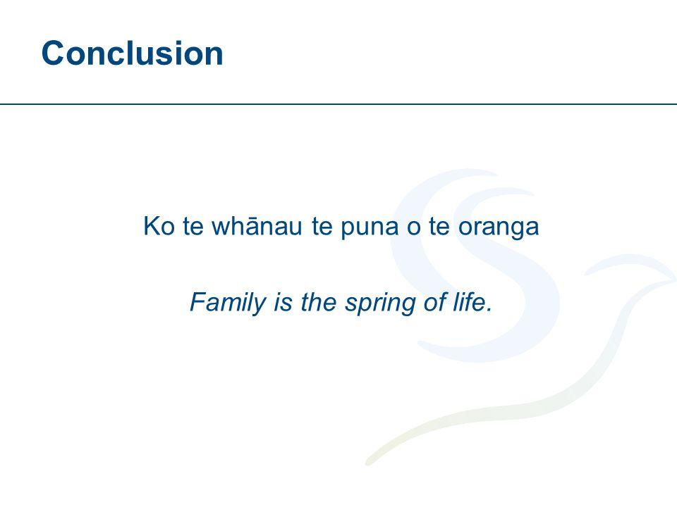 Conclusion Ko te whānau te puna o te oranga Family is the spring of life.