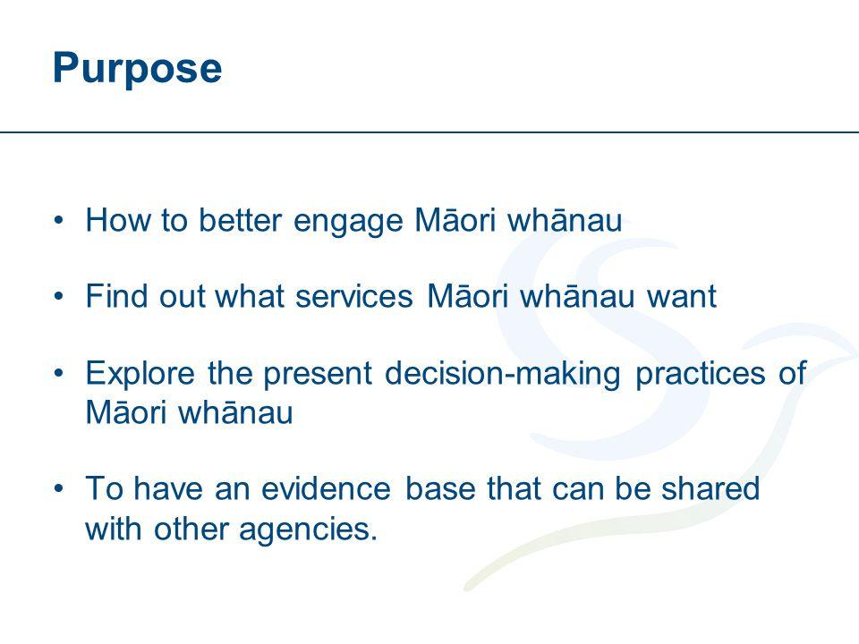 Purpose How to better engage Māori whānau Find out what services Māori whānau want Explore the present decision-making practices of Māori whānau To ha