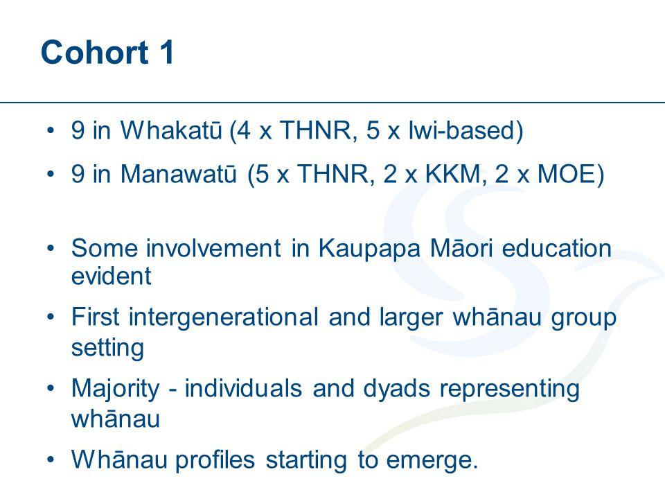 Cohort 1 9 in Whakatū (4 x THNR, 5 x Iwi-based) 9 in Manawatū (5 x THNR, 2 x KKM, 2 x MOE) Some involvement in Kaupapa Māori education evident First intergenerational and larger whānau group setting Majority - individuals and dyads representing whānau Whānau profiles starting to emerge.