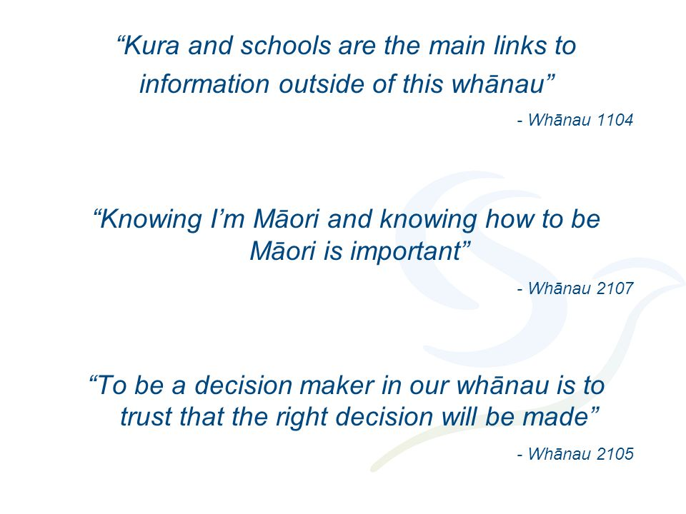 """""""Kura and schools are the main links to information outside of this whānau"""" - Whānau 1104 """"Knowing I'm Māori and knowing how to be Māori is important"""""""