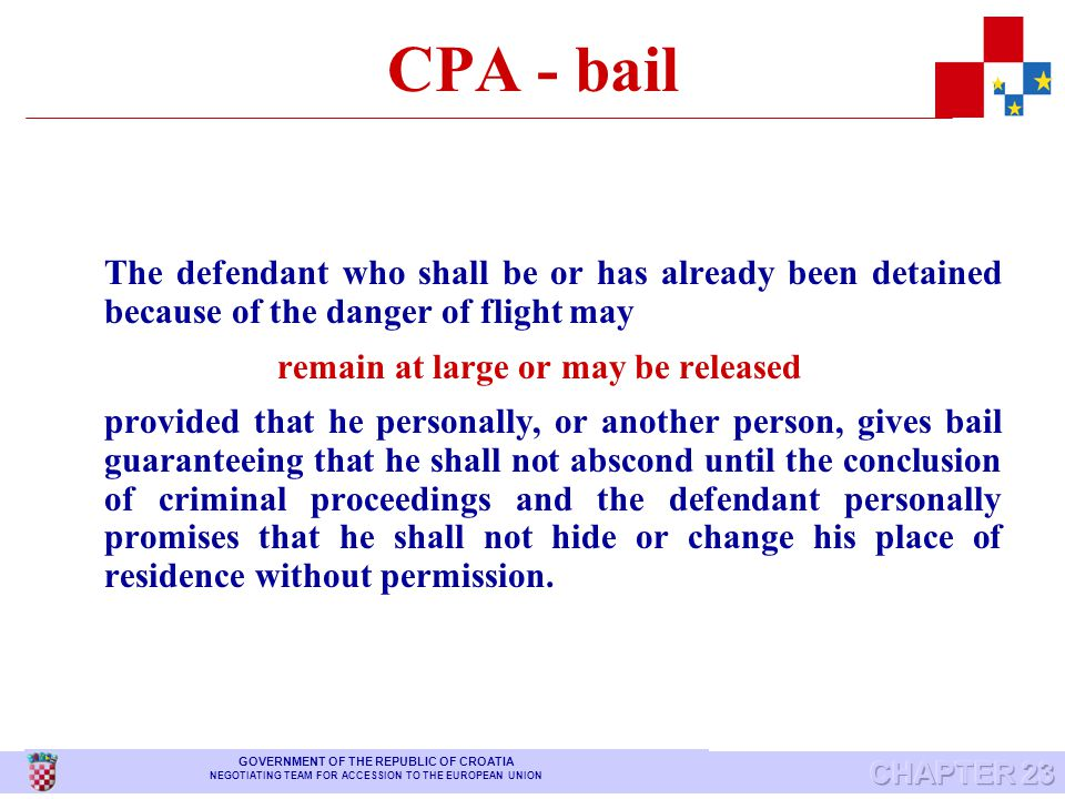 CPA – precautionary measures When circumstances exist which constitute a ground for detention, and the same purpose may be achieved by any of the prec