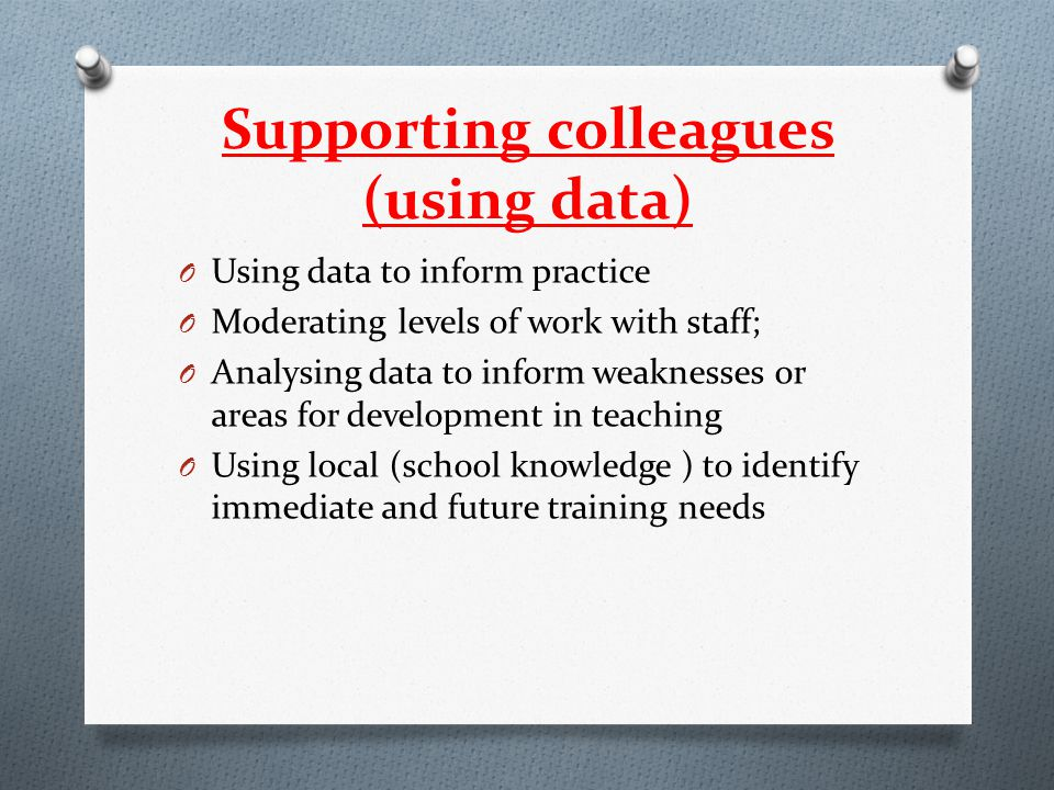 Supporting colleagues (using data) O Using data to inform practice O Moderating levels of work with staff; O Analysing data to inform weaknesses or ar