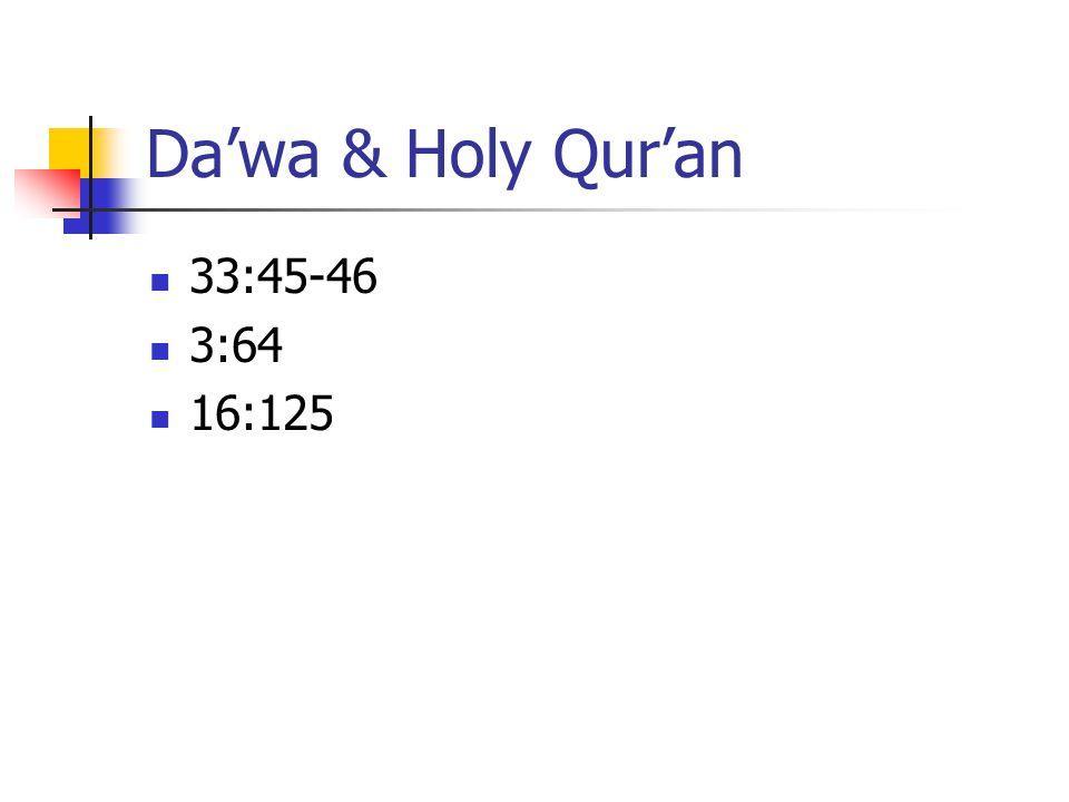 Da'wa & Holy Qur'an 33:45-46 3:64 16:125