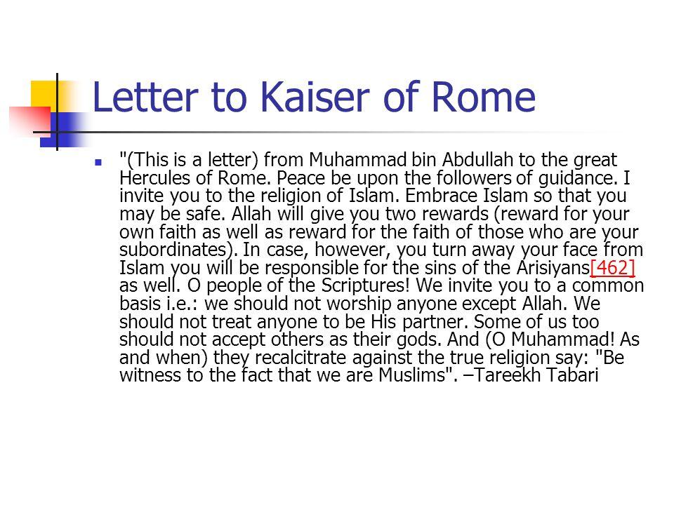 Letter to Kaiser of Rome