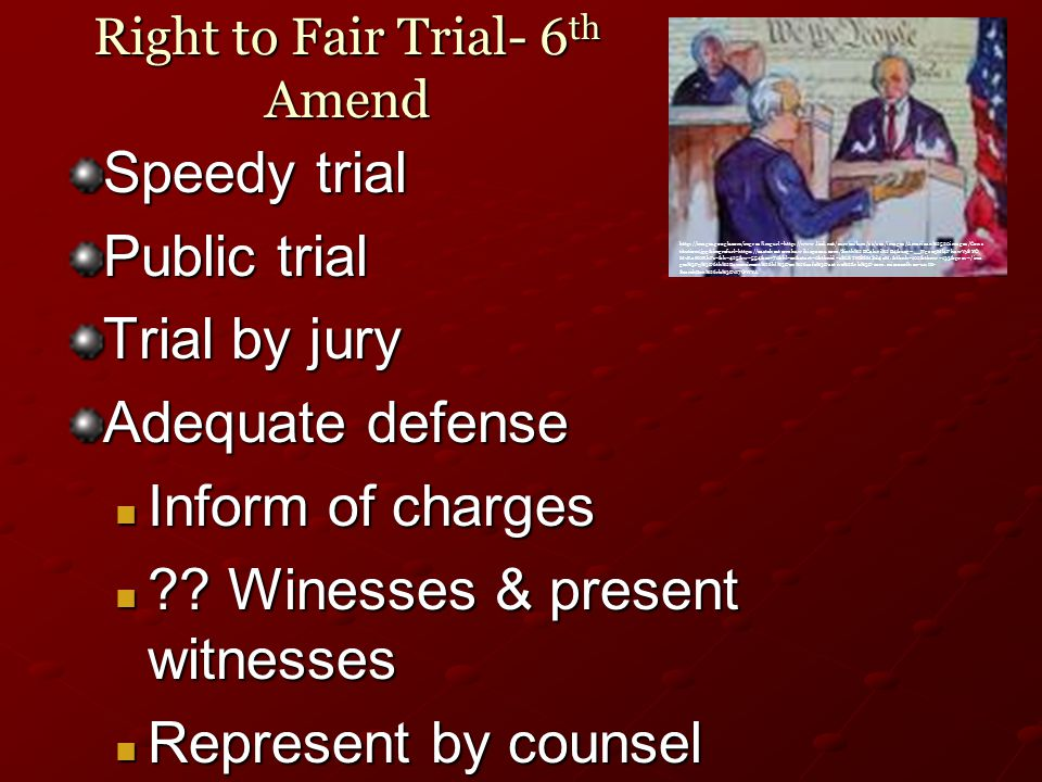 Right to Fair Trial- 6 th Amend Speedy trial Public trial Trial by jury Adequate defense Inform of charges Inform of charges .