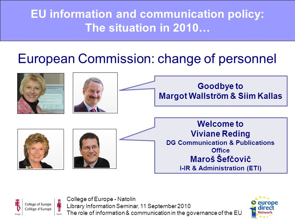 College of Europe - Natolin Library Information Seminar, 11 September 2010 The role of information & communication in the governance of the EU EU information and communication policy: The situation in 2010… European Commission: change of personnel Goodbye to Margot Wallström & Siim Kallas Welcome to Viviane Reding DG Communication & Publications Office Maroš Šefčovič I-IR & Administration (ETI)