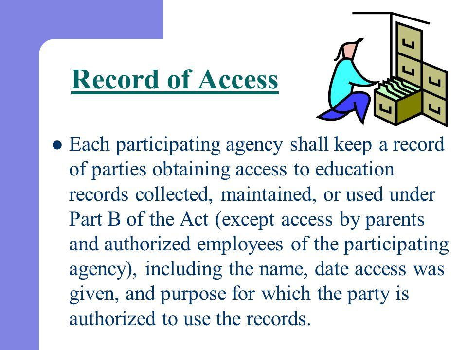 Record of Access Each participating agency shall keep a record of parties obtaining access to education records collected, maintained, or used under P