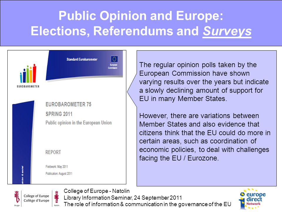 College of Europe - Natolin Library Information Seminar, 24 September 2011 The role of information & communication in the governance of the EU The regular opinion polls taken by the European Commission have shown varying results over the years but indicate a slowly declining amount of support for EU in many Member States.