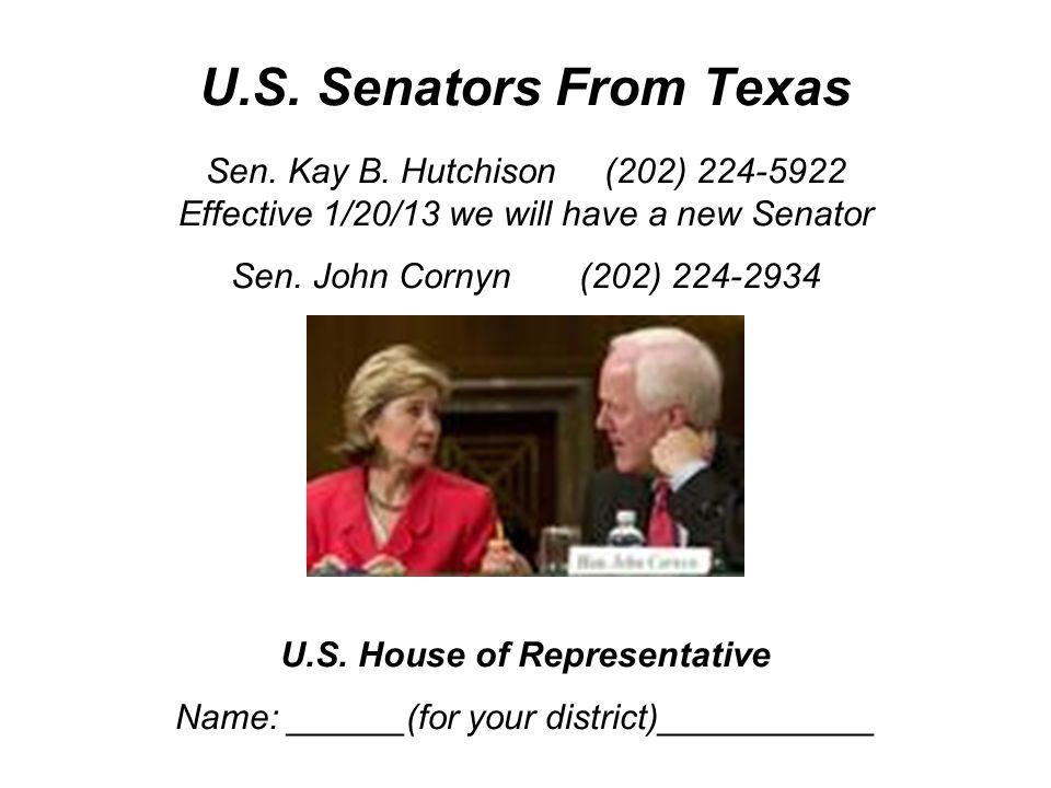 U.S. Senators From Texas Sen. Kay B.