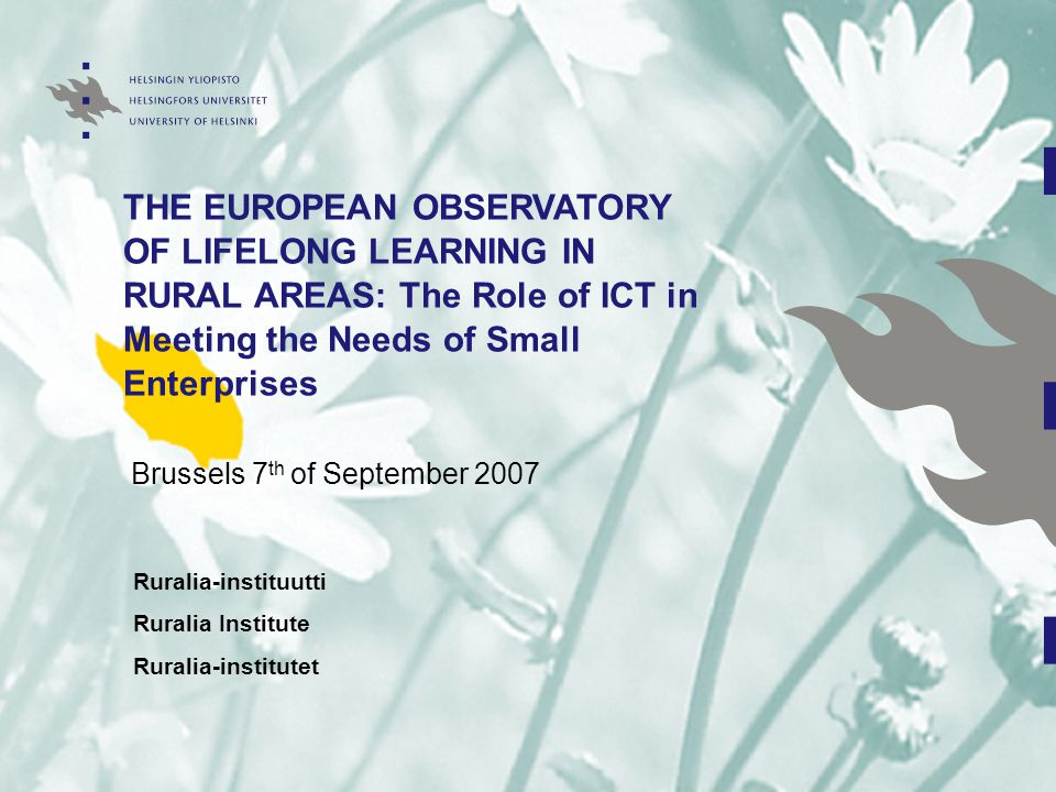 THE EUROPEAN OBSERVATORY OF LIFELONG LEARNING IN RURAL AREAS: The Role of ICT in Meeting the Needs of Small Enterprises Brussels 7 th of September 2007 Ruralia-instituutti Ruralia Institute Ruralia-institutet