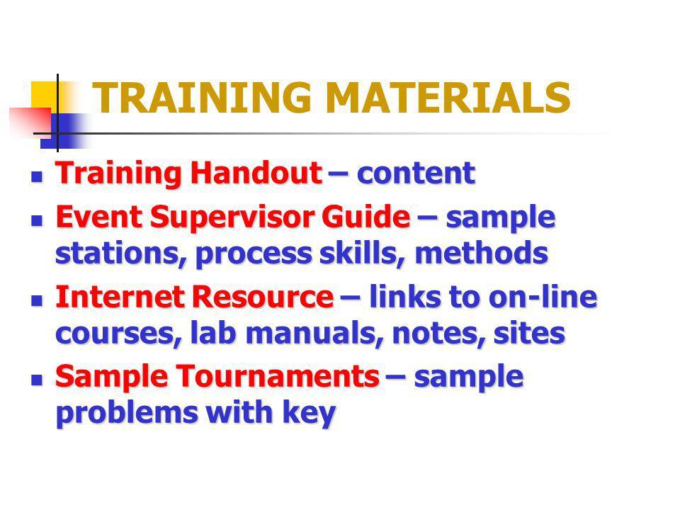 TRAINING MATERIALS Training Handout – content Training Handout – content Event Supervisor Guide – sample stations, process skills, methods Event Super