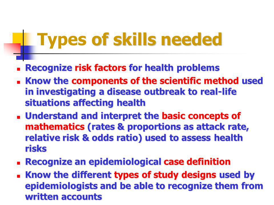 of skills needed Types of skills needed Recognize risk factors for health problems Recognize risk factors for health problems Know the components of t