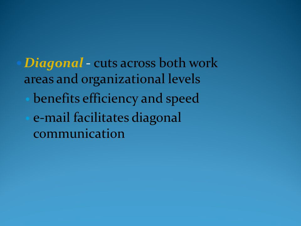 Diagonal - cuts across both work areas and organizational levels benefits efficiency and speed e-mail facilitates diagonal communication