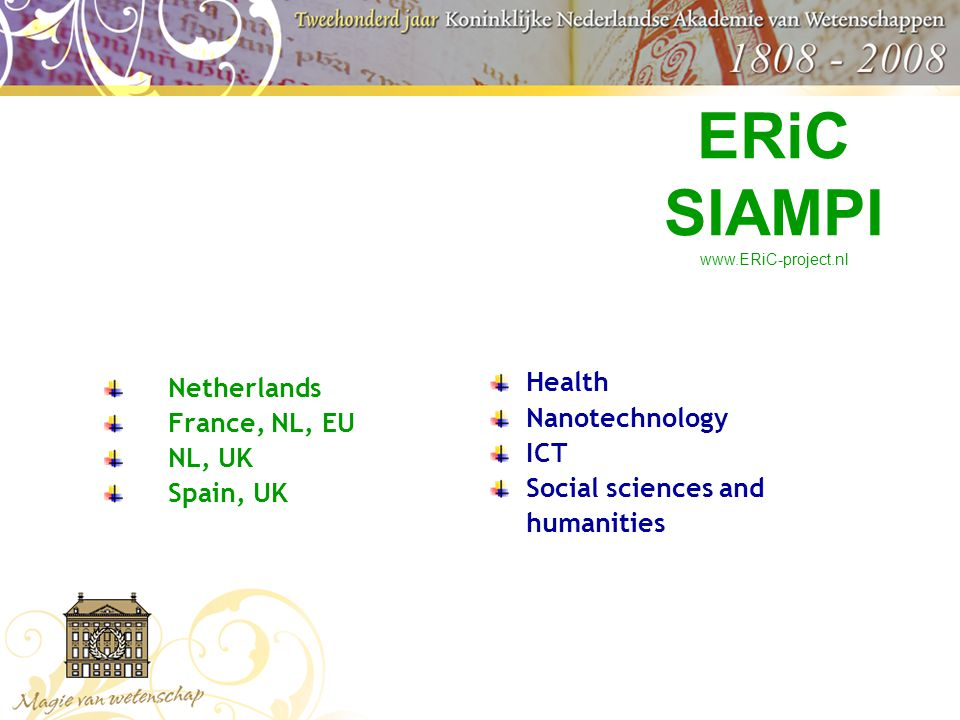 Netherlands France, NL, EU NL, UK Spain, UK Health Nanotechnology ICT Social sciences and humanities ERiC SIAMPI www.ERiC-project.nl