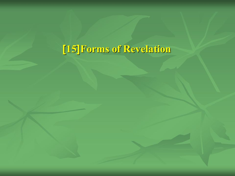 Forms of Revelation [15]